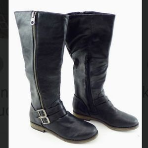 Rampage Womens Black Tall Buckle Boots Size 7